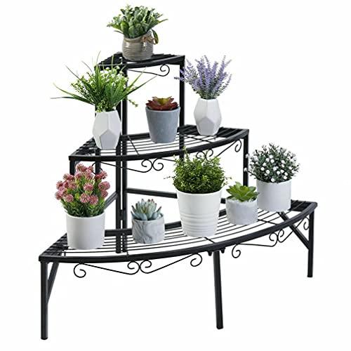 unho Blumentreppe Ecke, Pflanzentreppe mit 3 Ablagen, Metall Blumenregal Pflanzenregal für Ecke Balkon Garten Deko,77×58cm