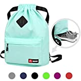 Drawstring Backpack String Bag Sackpack Cinch Water Resistant Nylon for Gym Shopping Sport Yoga by WANDF (Airy Blue 6030...