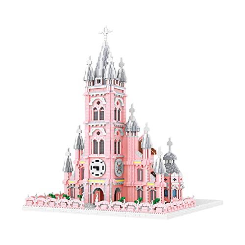 LWX Modelo De Arquitectura De Castillo Rosa, Modelo De Bloques De Construcción Juguetes Cumpleaños