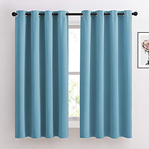 NICETOWN Blackout Curtains 63 Long - Window Treatment Thermal Insulated Solid Grommet Blackout Curtains/Panels/Drapes for Bedroom (Teal Blue=Light Blue, Set of 2 Panels, 52 by 63 Inch)