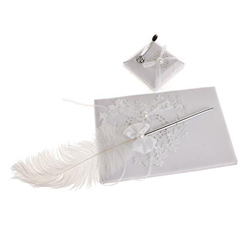 Milageto Elegante Recepción de Boda Libro de Invitados Pluma Bowknot Juego de Bolígrafo Y Bolígrafo