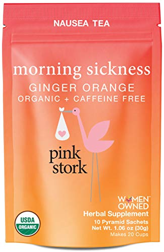 Pink Stork Morning Sickness Tea: Ginger Orange Pregnancy Nausea Tea, 100% Organic, Supports Digestion + Hydration During Pregnancy, Women-Owned, 20 Cups