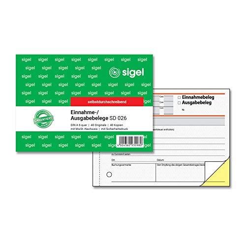 SIGEL SD026 Ausgabe- / Einnahmebelege A6 quer, 2x40 Blatt, selbstdurchschreibend, 1 Stück
