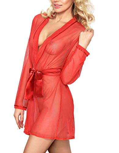 DKaren Damen Nachtwäsche sexy Negligee - Kimono Morgenmantel Kurz Transparent Satin für Frauen Aisha (M, Rot)