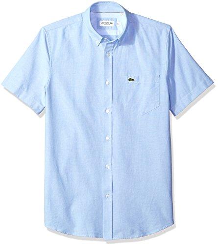 Lacoste Mens Short Sleeve Oxford Button Down Collar Regular Fit Woven Shirt Button Down Shirt, Hemisphere Blue, L