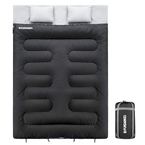 FUNDANGO Saco de Dormir Doble para 2 Personas Saco de Dormir para Adultos Compacto Impermeable cálido cómodo 17 ℃ para Camping mochilero Senderismo tamaño Grande con Bolsa de compresión y 2 Almohadas
