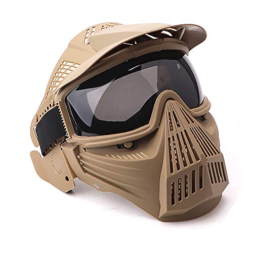 NINAT Tactical Paintball Mask Airsoft Masks Full Face with Greylens Lens Goggles Eye Protection for CS Survival Games Airsoft Shooting Halloween Cosplay Safety Mask Paintball-Tan