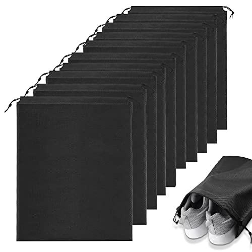 Ulikey 10er Schuhbeutel, Wasserabweisend Schuhtasche Staubdicht Schuhsack Stoffbeutel mit Zugband, Travel Aufbewahrungsbeutel Organizer für Reisen Zuhause, 35 * 45cm, Schwarz
