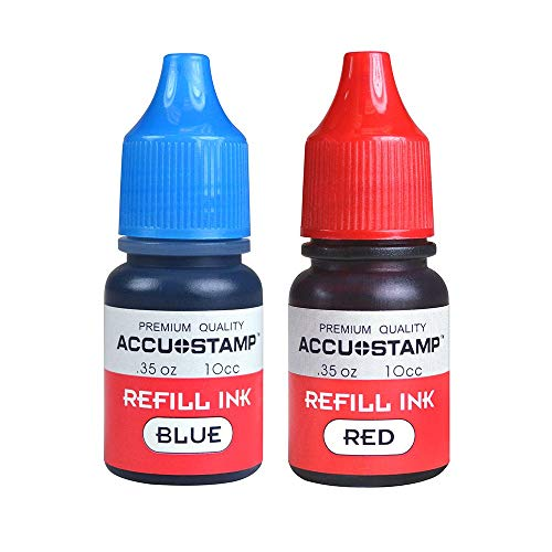 Two Bottles of Ink Refill for Pre-Ink Stamps, Blue and Red, Pack of 2 (35 Ounce/Each)