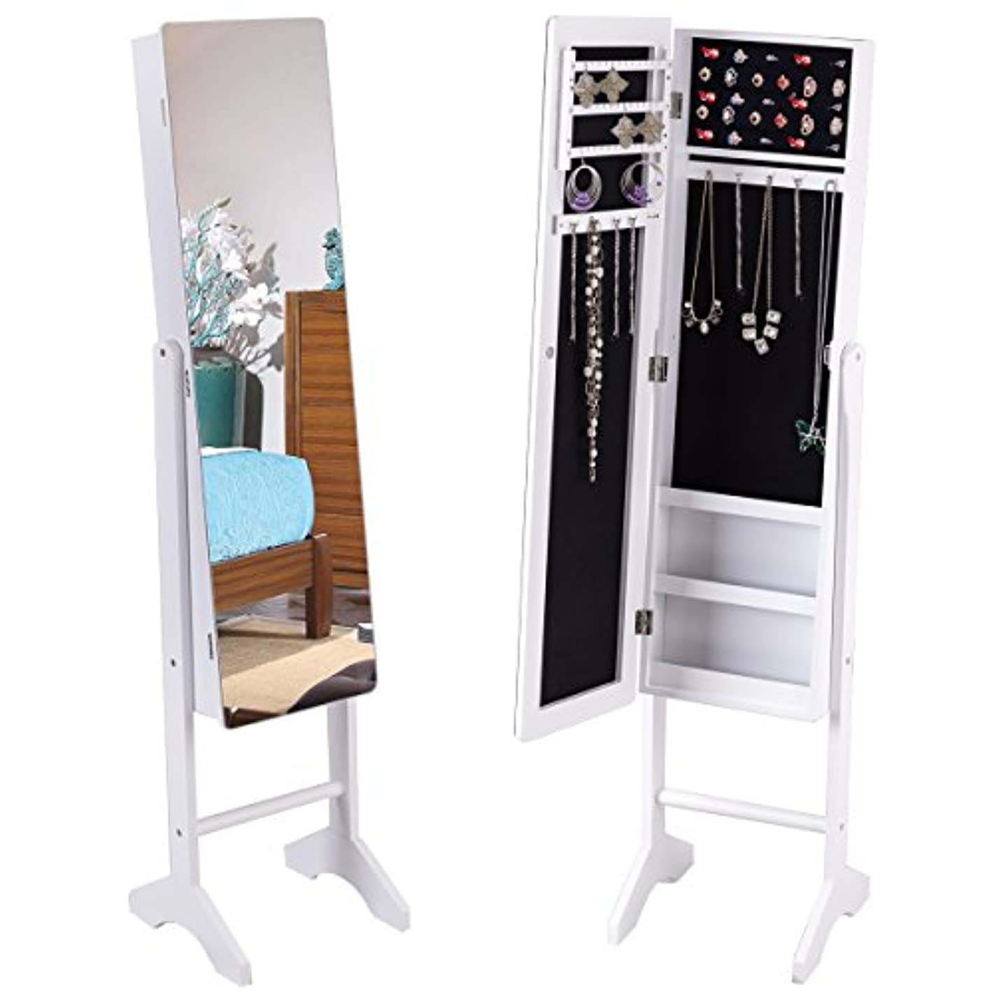 Giantex Mirrored Jewelry Cabinet Armoire Free Standing Lockable Storage Organizer Home Bedroom Large 50 Ring Slots 36 Earrings 10 Necklace Hook Frameless Wide Full Length Mirror Jewelry Armoires