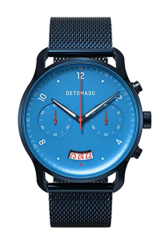 DETOMASO SORPASSO Chronograph Limited Edition BLU Blau Herren-Armbanduhr Analog Quarz Mesh Milanese Dunkelblau