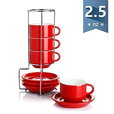 Sweese Porcelain Stackable Cappuccino Cups with Saucers and Metal Stand - 8 Ounce for Specialty Coffee Drinks, Cappuccino, Latte, Americano and Tea - Set of 4