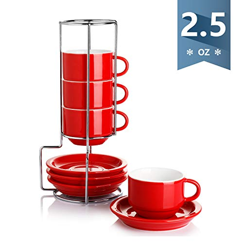 JoyJolt Stoiva Stackable Double Wall Insulated Espresso 5oz Glass Cups Set of 4