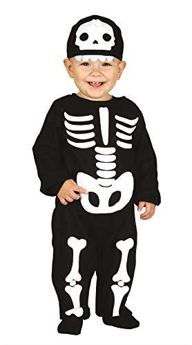 Guirca 87011 - Disfraz de Esqueleto para niño de 12/24 Meses, Color Negro y Blanco, 2 años