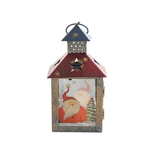 VOSAREA Lanterne Bougeoir de Noël Vintage Motif Père Noël Sapin de Noel Décoration de Table Noël