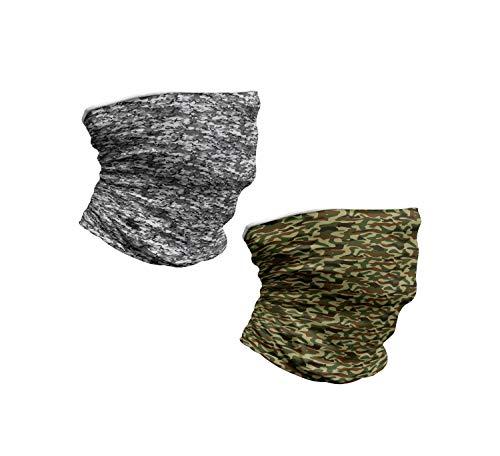 ABAKUHAUS Nackenwaermer 2 er Set Halswaermer nackenhörnchen Stehkragen, Classic und Graustufen-Camouflage-Muster, Grün Braun Grau