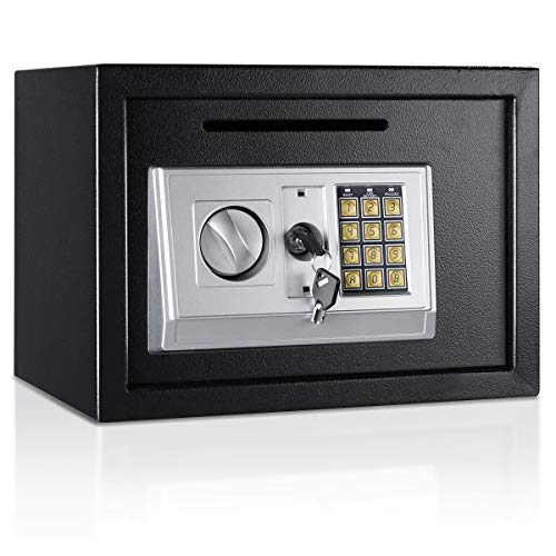 "Giantex 14"" Digital Depository Drop Gun Jewelry Home Hotel Lock Cash Safe Box (Black)"