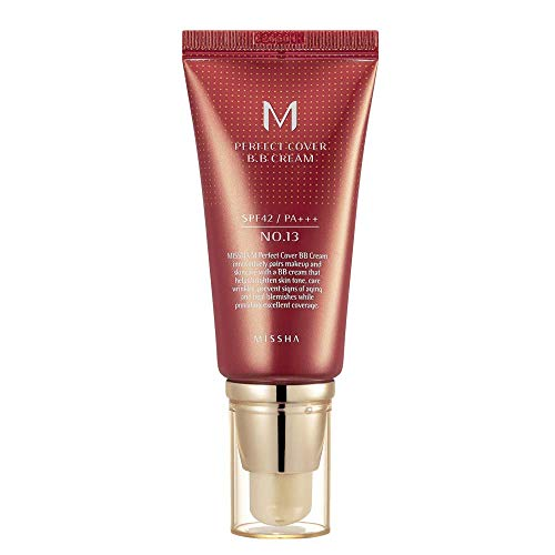 Missha M Perfect Cover BB Cream SPF 42 PA+++ (#13 Bright Beige), Amazon Code Verified for Authenticity, 50ml, Concealing Blemishes, dark circles, UV Protection