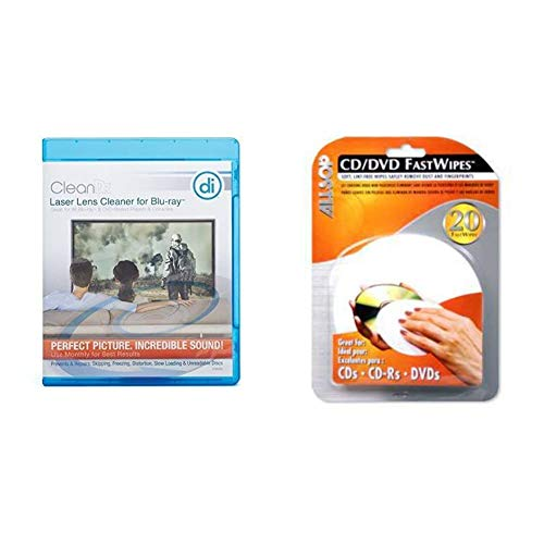 Digital Innovations CleanDr for Blu-Ray Laser Lens Cleaner for Blu-Ray/DVD / PS3 / PS4 / Xbox & Allsop CD and DVD FastWipes, lint-Free Wipes for Cleaning DVD, CD, PS1, PS2, Xbox & Xbox 360 Discs
