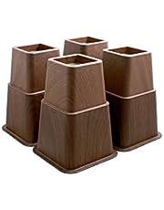 Design61 bedverhogers - Houtlook - 4 hoog en 4 kort - Voor poten tot 73 x 73 mm - Bruin