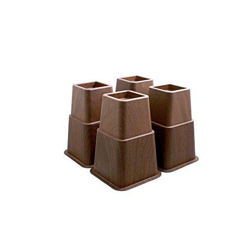 Design61 Bett Erhöhung Holz-look Möbelerhöher Betterhöher Betterhöhung Möbelerhöhung Elefantenfuß (4 hohe + 4 kurze) für Füße bis 73x73 mm Braun