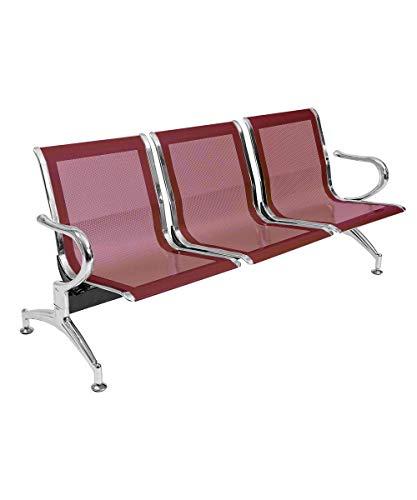 Notek Srl Panca per Sala d'Attesa Colore Rosso, sedute Ufficio, panche in Acciaio per Studio Professionale e Sala d'aspetto (3_posti)