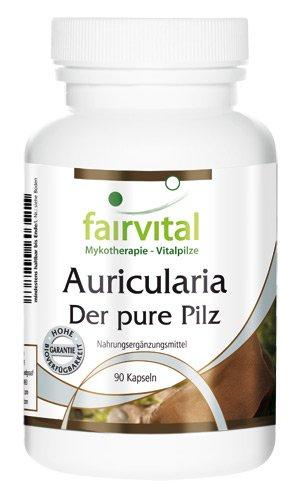 Auricularia Kapseln - 500mg Judasohr Pilzpulver pro Kapsel - HOCHDOSIERT - VEGAN - 90 Kapseln
