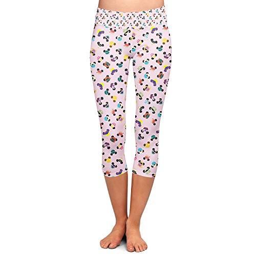 Señoras Pantalones Capri Moda Orejas De Especial Estilo Disney Yoga Ratón De Capri Leggings Estiramiento Flaco Gimnasio Pantalones Casual Pantalones De Sudor (Color : Colour, Size : 2XL)