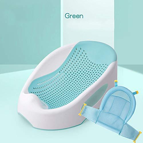 QWEA Duschsitz Baby,badewannensitz Baby,badewannensitz,Badewannenstütze,Mit Badnetz,rutschfeste Punktstütze,kann aufgehängt,weggetragen Werden,55 * 33 * 22cm-grün,pink