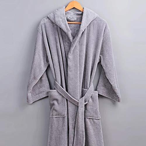 XJJZS Classic Winter Robe Hombres Hombre con Capucha con Capucha 100% algodón Toalla de Terry Larga Baños de Hombre Hombre Casa Grueso Cálido Cálido Vestido Kimono Robas (Color : A, Size : Medium)