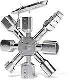 INNONEXXT® - Llave universal de alta calidad | Llave multifunción para contador eléctrico de agua de gas, armario de conmutación, llave de apertura | TwinKey