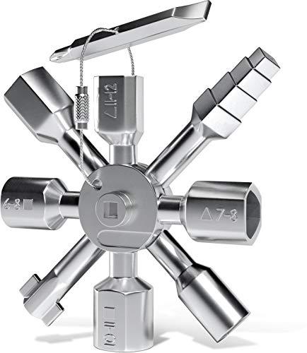 INNONEXXT® Premium Universalschlüssel | Multifunktionsschlüssel Gebäudetechnik für Gas-Wasser-Elektro-Zähler, Schaltschrank, Heizkörper, Öffnungs-Schlüssel | TwinKey für gängige Absperrsysteme