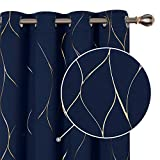 Deconovo Lot de 2 Rideaux à Oeillets Thermiques Isotants Occultant Rideau Chambre Fille Motifs Ligne Dorée 132x183cm Bleu Marine