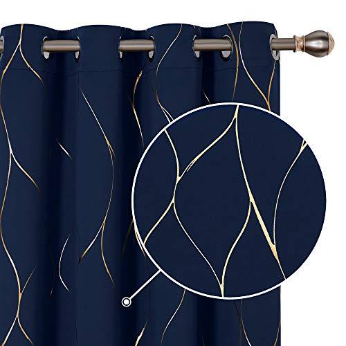 Deconovo Lot de 2 Rideaux à Oeillets Désign Moderne Fille Occultant Thermiques Isolation Chambre Rideau Salon Motifs Ligne Doré 140x240cm Bleu Marine