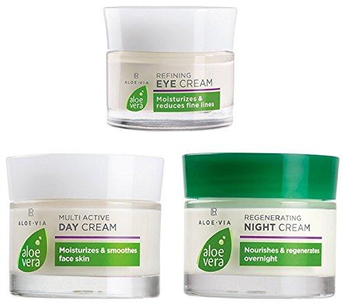 LR ALOE VIA Jeu de crèmes de soin du visage à l'aloe vera (crème de jour, crème de nuit, crème de contour des yeux)