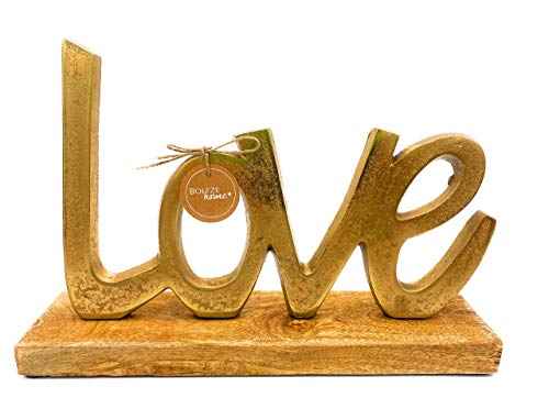 Boltze Love L28 cm Oro Marrone Legno Metallo Mango Mangifera Indicia, Alluminio