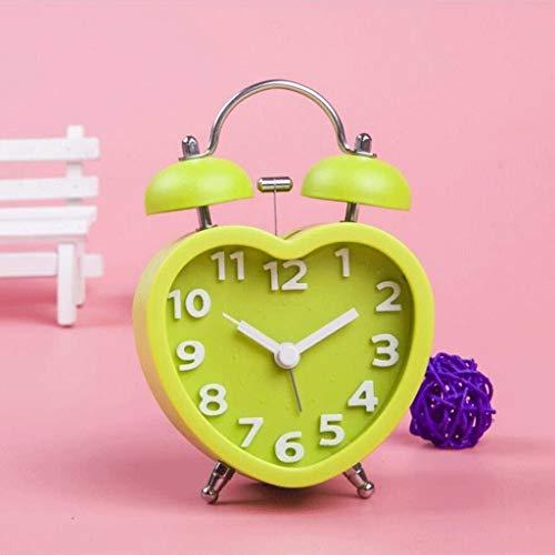 WERTYG En Forma de corazón de Alarma ClockLovely Hombre Perezoso Dormitorio de Noche Reloj electrónico (Color: Rojo), Color: Negro Despertador (Color : Green)