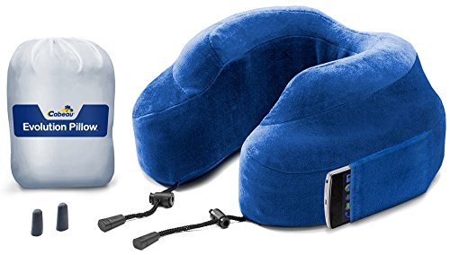 NEW CABEAU Memory Foam 'Evolution Pillow' - The Travel Pillow That Works! Includes Small Bag, Raised Side Supports, Flat Rear Neck Cushion, Washable Cover, Media Pouch, and More - BLUE
