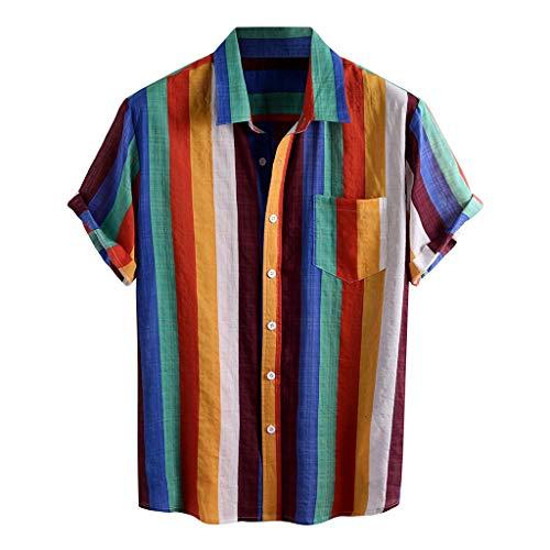 Yowablo Chemises Hommes Rayé Imprimé Col Rabattu Manches Courtes Décontracté (XL,2Jaune)