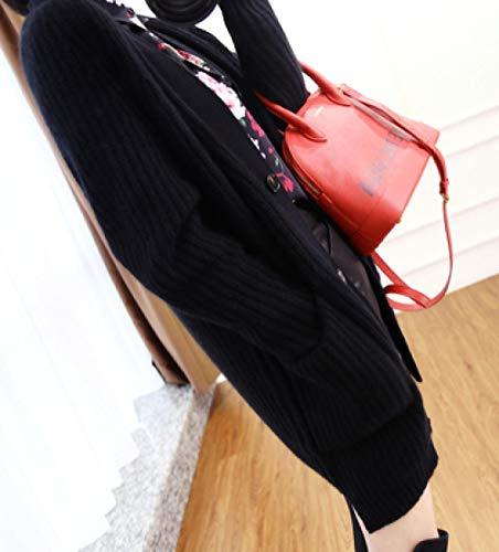 Ladies Långärmat Stickad cardigan temperament kvinnliga mellan långt avsnitt The New lösull jackor tröja Hyococ (Color : B, Size : XL)