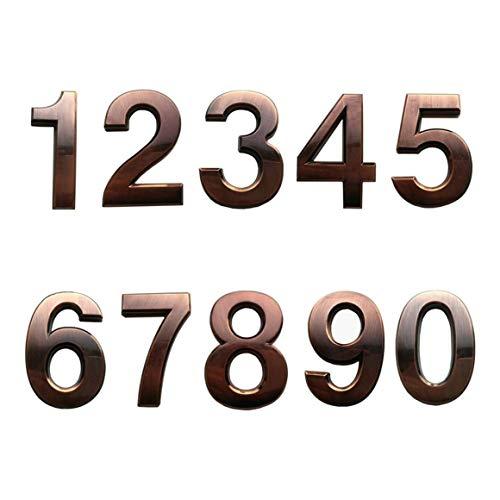 SODIAL 10 StüCk Selbst Klebende TüR Haus Nummern Postfach Nummern Stra?En Adress Nummern für Wohn- und Postfach Schilder Bronze
