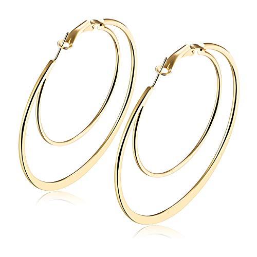 1 par de pendientes de aro dobles para mujeres y niñas, de acero inoxidable, pequeño, mediano, grande, 45 mm, 50 mm, 60 mm, 70 mm. 70mm