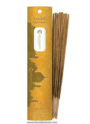 Sandal Traditional And Natural Incense 10 Sticks, Honey, Hand Rolled, Fiore D'Oriente