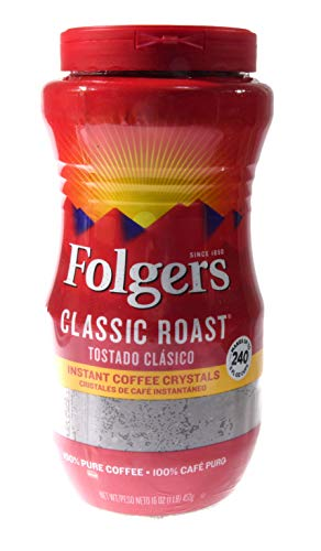 Folgers Classic Roast Instant Coffee Crystals  16 Oz Pack of 2