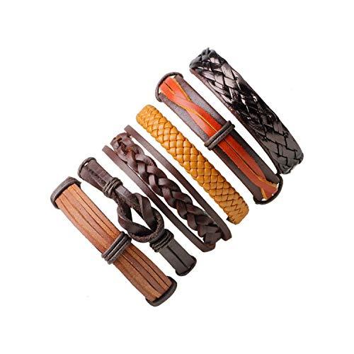 CNSP VIVIZEY New Men's Bracelets Punk Leather Weave Black Multilayer Adjustable Man Jewelry Vintage Bracelets & Bangles L