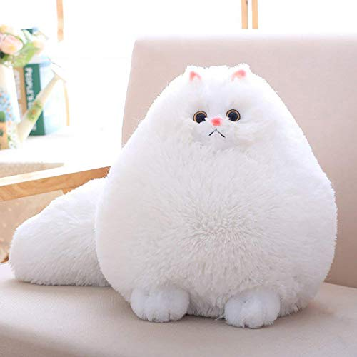 Winsterch Kids Cats Stuffed Animal Toys Gift Plush Cat Animal Baby Doll, Fat White Plush Cat,12 Inches