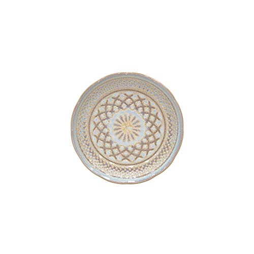 Costa Nova Cristal Collection Stoneware Ceramic Bread Plate 6', Nacar