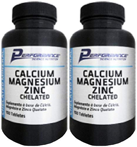 Calcio Magnesio Zinco Mineral Quelato Performance Nutrition 100 tabletes Kit 2 Und