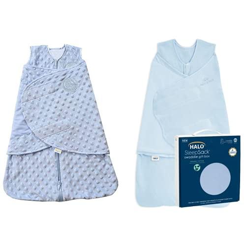 HALO Sleepsack Gift Set Bundle - Organic Cotton Swaddle1-Piece Newborn Gift Set Box, Chambray - Plush Dot Velboa Sleepsack Swaddle Wearable Blanket, Blue, Newborn