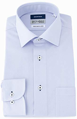 [アイシャツ] i-shirt 完全ノーアイロン ストレッチ 超速乾 スリムフィット 長袖 アイシャツ ワイシャツ メンズ ノンアイロン 053 サックス セミワイド ミニチェック M15120000781 日本 3L86(首回り45cm×裄丈86cm) (日本サイズ3L相当)